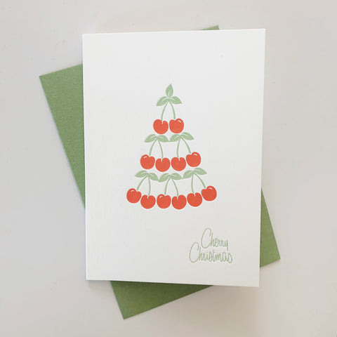 Cherry Christmas tree - single letterpress Christmas card