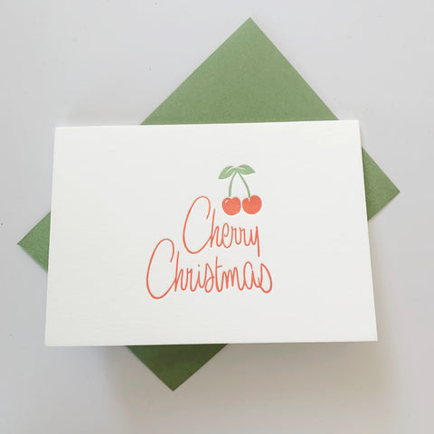 NEW: Cherry Christmas type - single letterpress Christmas card