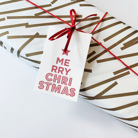Wrap & Tags bundle (Gold) - Single sheet gift wrap with six pack Merry Christmas Star letterpress gift tags