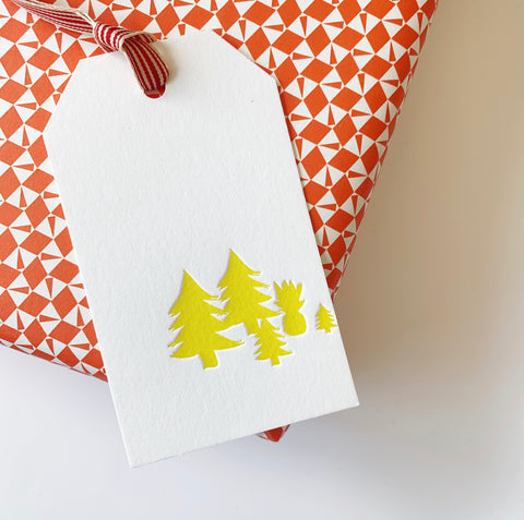 Wrap & Tags bundle (Red) - Single sheet gift wrap with two pack Pineapple letterpress gift tags