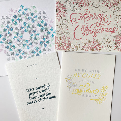 The Christmas Charm Set - Four pack of letterpress cards