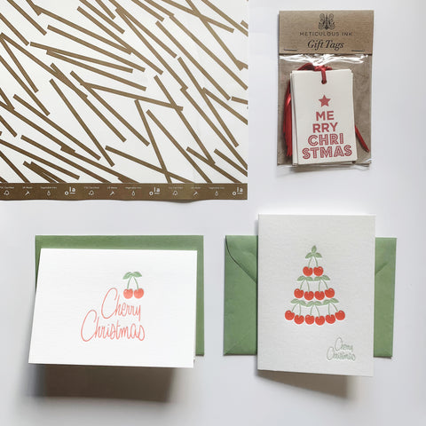 All In  Gold & White Bundle - 2 x letterpress greeting cards, 2 x gift wrap sheets, six pack letterpress gift tags