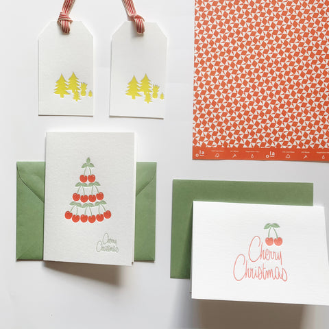 All In Red & White Bundle - 2 x letterpress greeting cards, 2 x gift wrap sheets, 2 pack letterpress gift tags