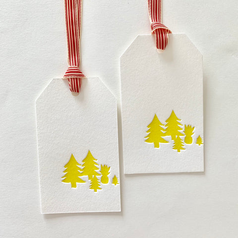 Pineapple Christmas Tree letterpress gift tag by Miemiko