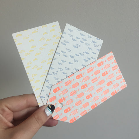 Letterpress gift tags, mixed pattern - set of three