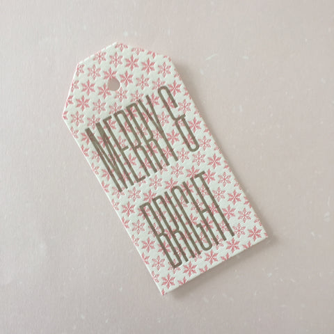 Merry & Bright large letterpress gift tags - set of three