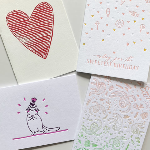 SOLD OUT: The January Set - four pack of letterpress cards