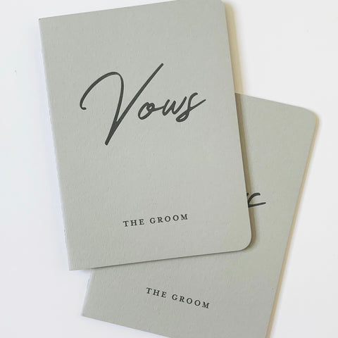 NEW: Letterpress Wedding Vow Books - Bride/Groom