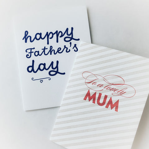 The Parents Duo - two pack of letterpress greeting cards