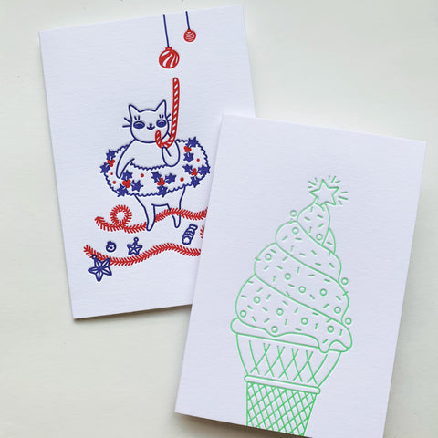 Australian Christmas Duo - set of two letterpress cards