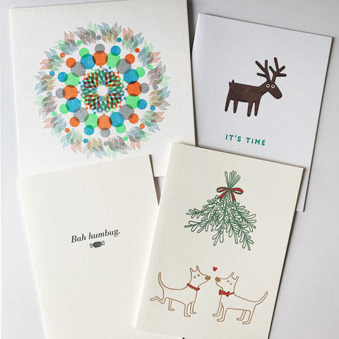 The Festive Fun Set - Four pack of letterpress cards