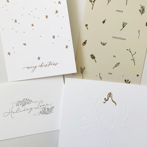 Golden Christmas Set - Four pack of letterpress cards