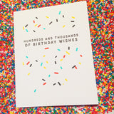 100s and 1000s letterpress birthday card