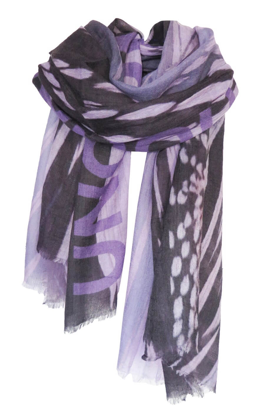 D-Luca Feather Lilac Fine Wool Silk Scarf