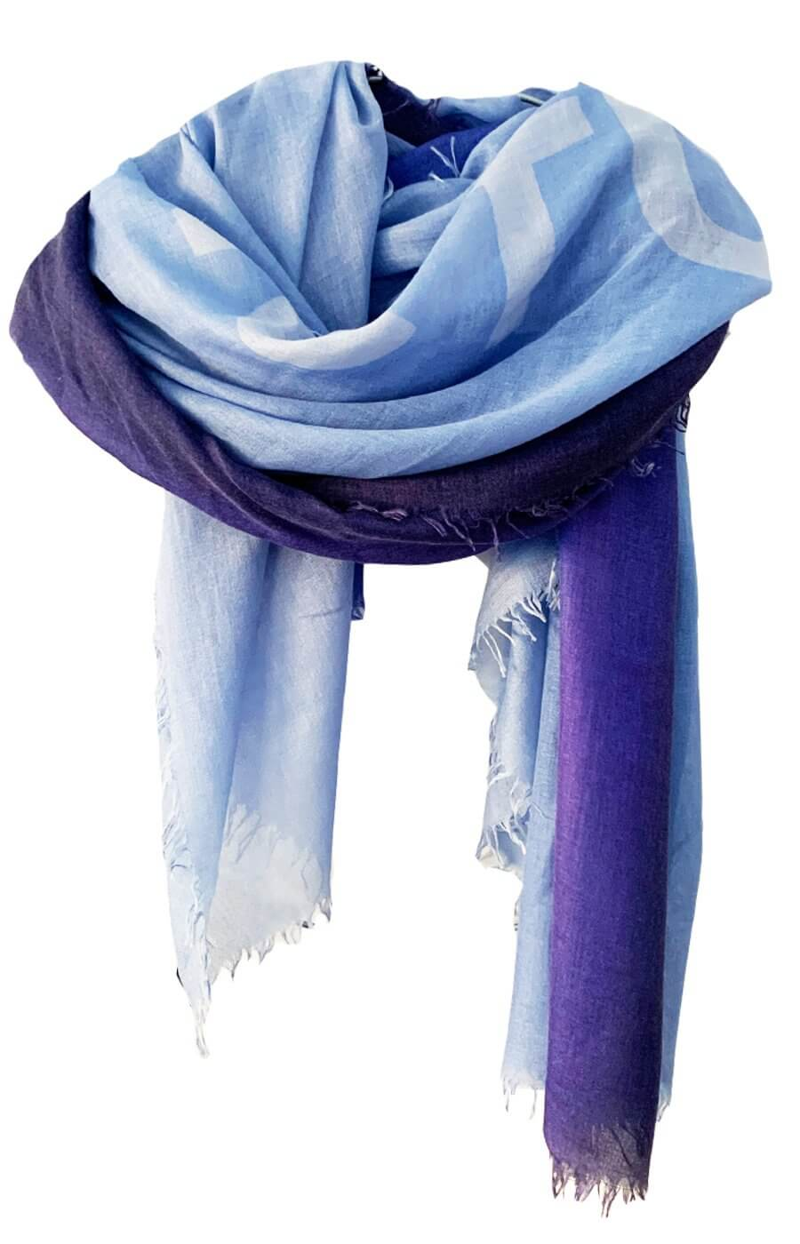 D/Luca Sanctuary Shades of Blue - Fine Silk Cashmere Scarf