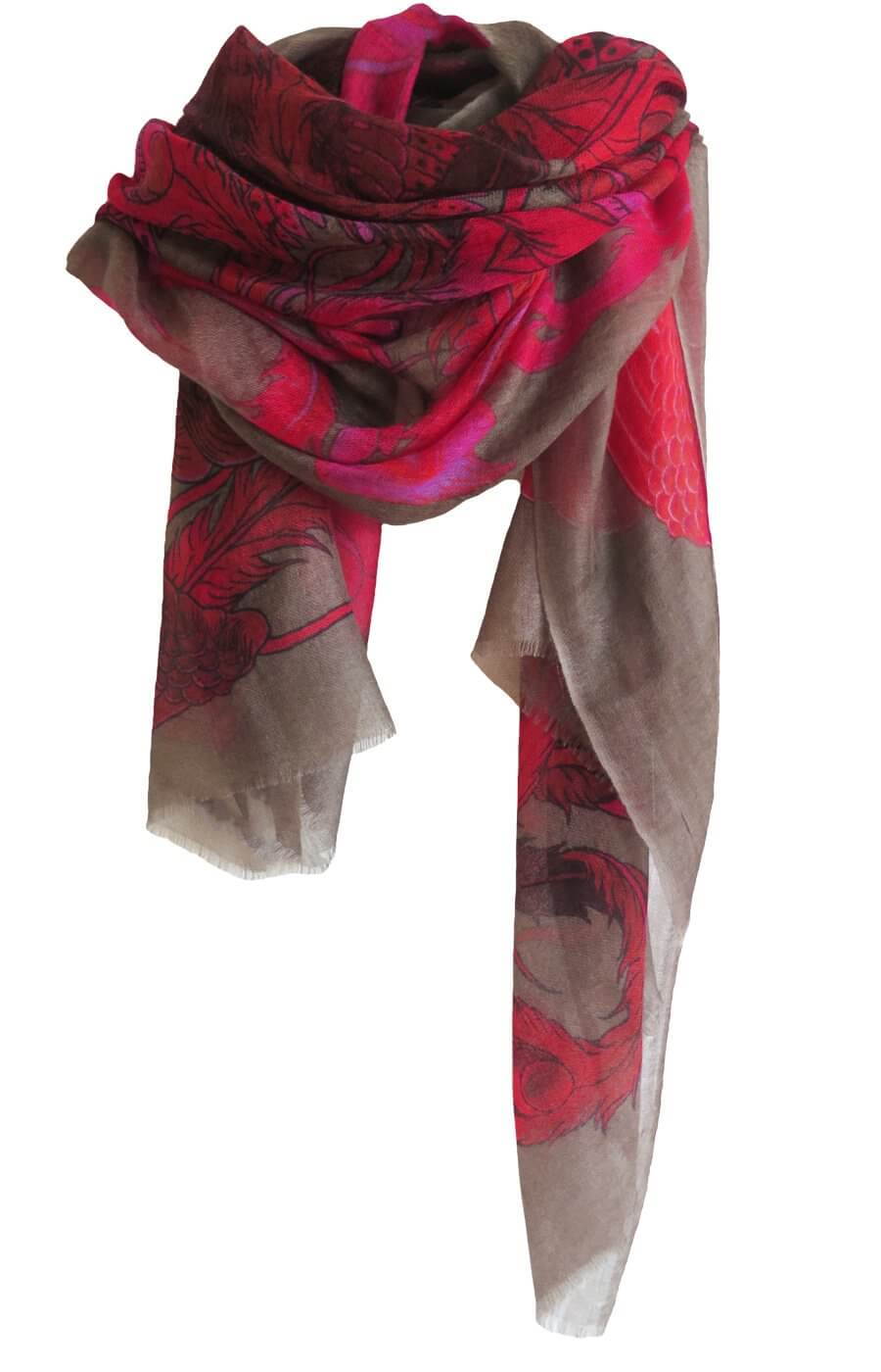 D/Luca Bird of Paradise Pink - Fine Cashmere Scarf
