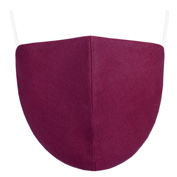 Linen Tailored Mask - Solid Berry