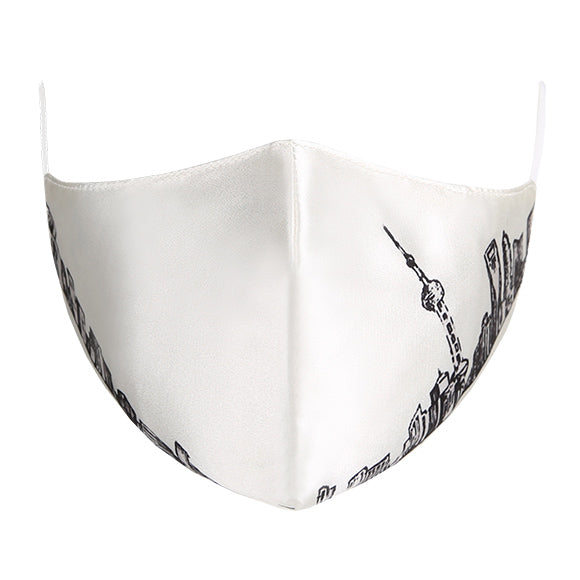 Silk Tailored Mask - White with Shanghai Skyline
