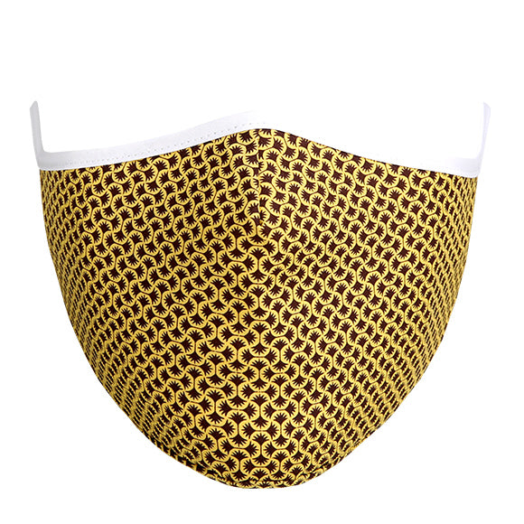 Cotton Tailored Mask - Gole & Black Geometric Pattern with White Border
