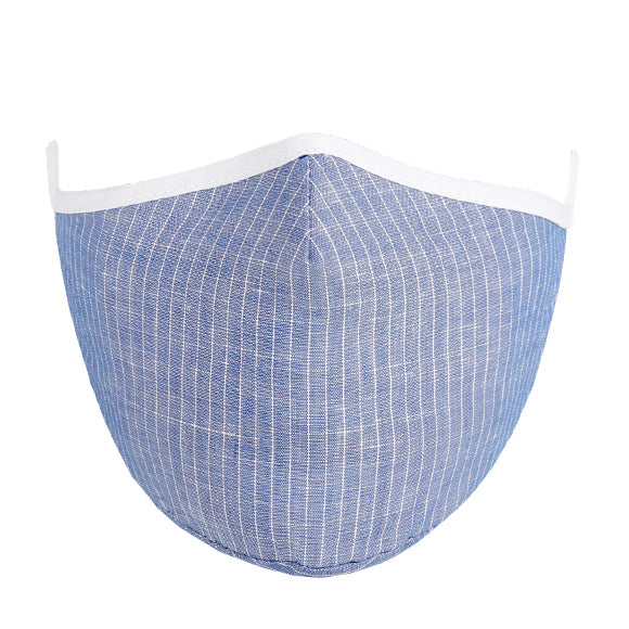 Linen Tailored Mask - Blue with White Checks