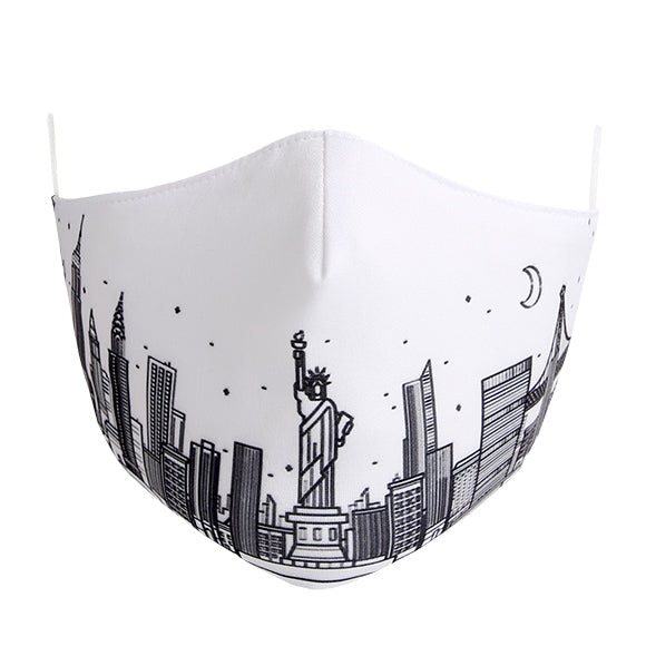 Cotton Tailored Mask - White with NYC Skyline Print