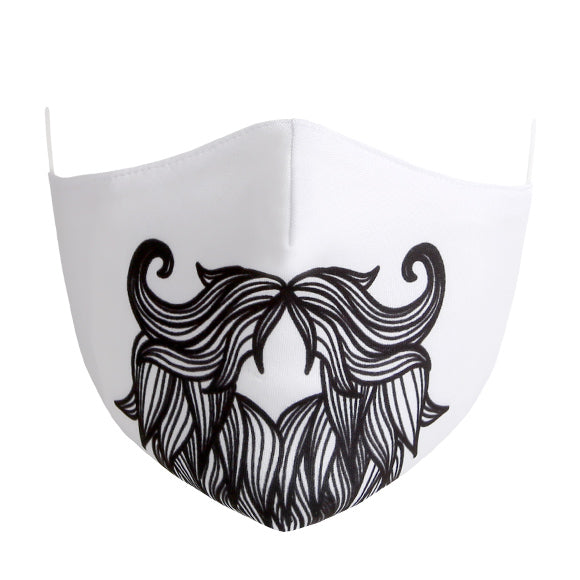 Cotton Tailored Mask - White with Viking Beard Print