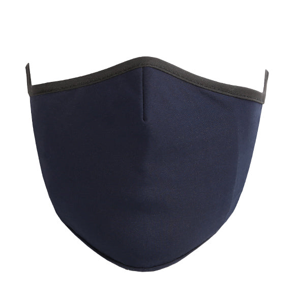 Cotton Tailored Mask - Navy Solid with Black Borders