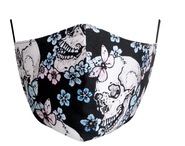 Cotton Tailored Mask - Black with Skulls and Small Roses