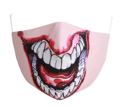 Cotton Tailored Mask - Pink with Joker Mouth
