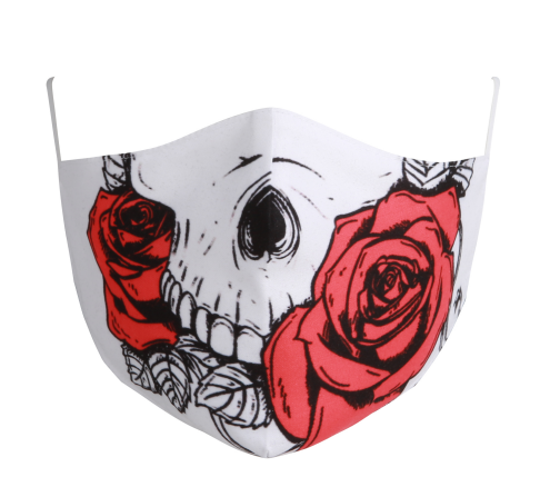 Cotton Tailored Mask - White, Large Skull on Rose