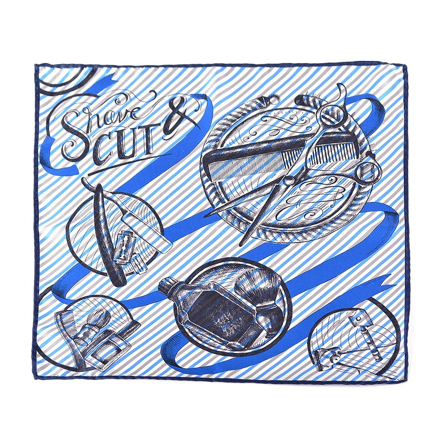 "100% Silk Twill ""The Art Of Shaving"" Print Pocket Square"