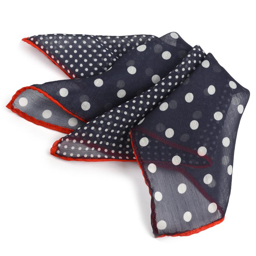Silk & Wool Polka Dot Print Pocket Square
