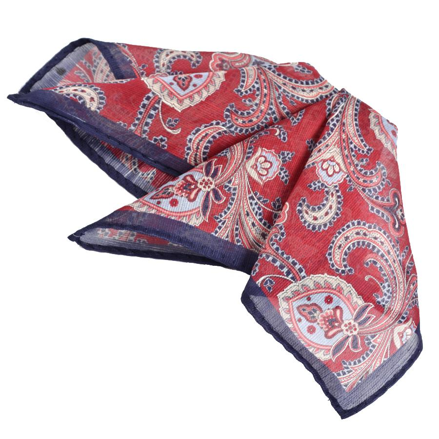 Silk & Linen Paisley Chiffon Pocket Square