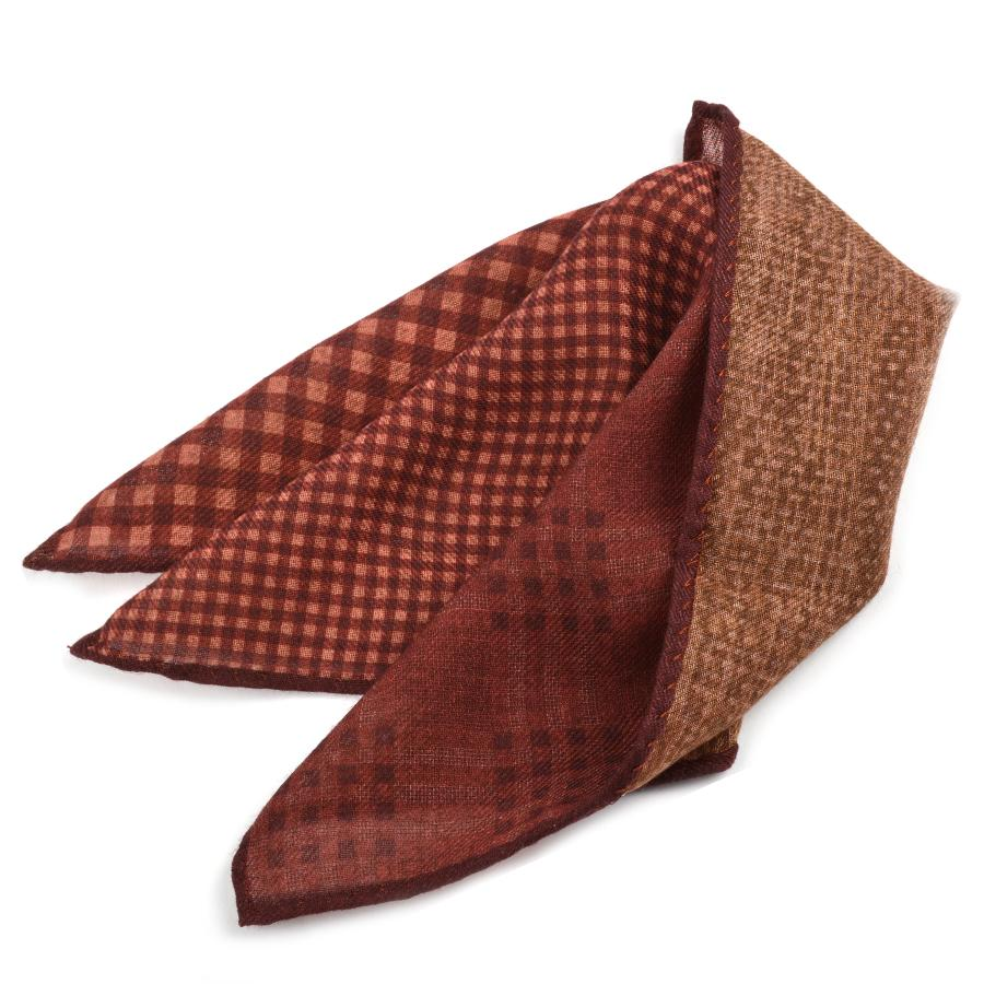 100% Wool Gingham and Check Print Pocket Square