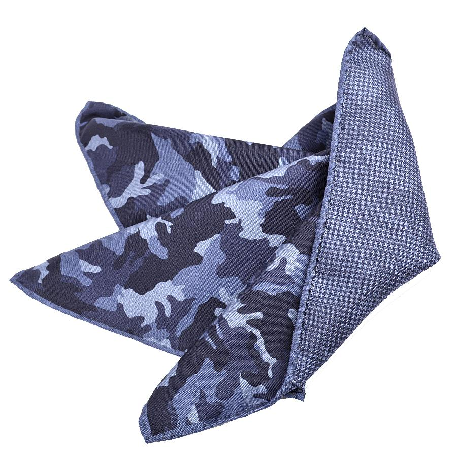 100% Silk Camoflage / Houndstooth Panama (Reversible) Print Pocket Square