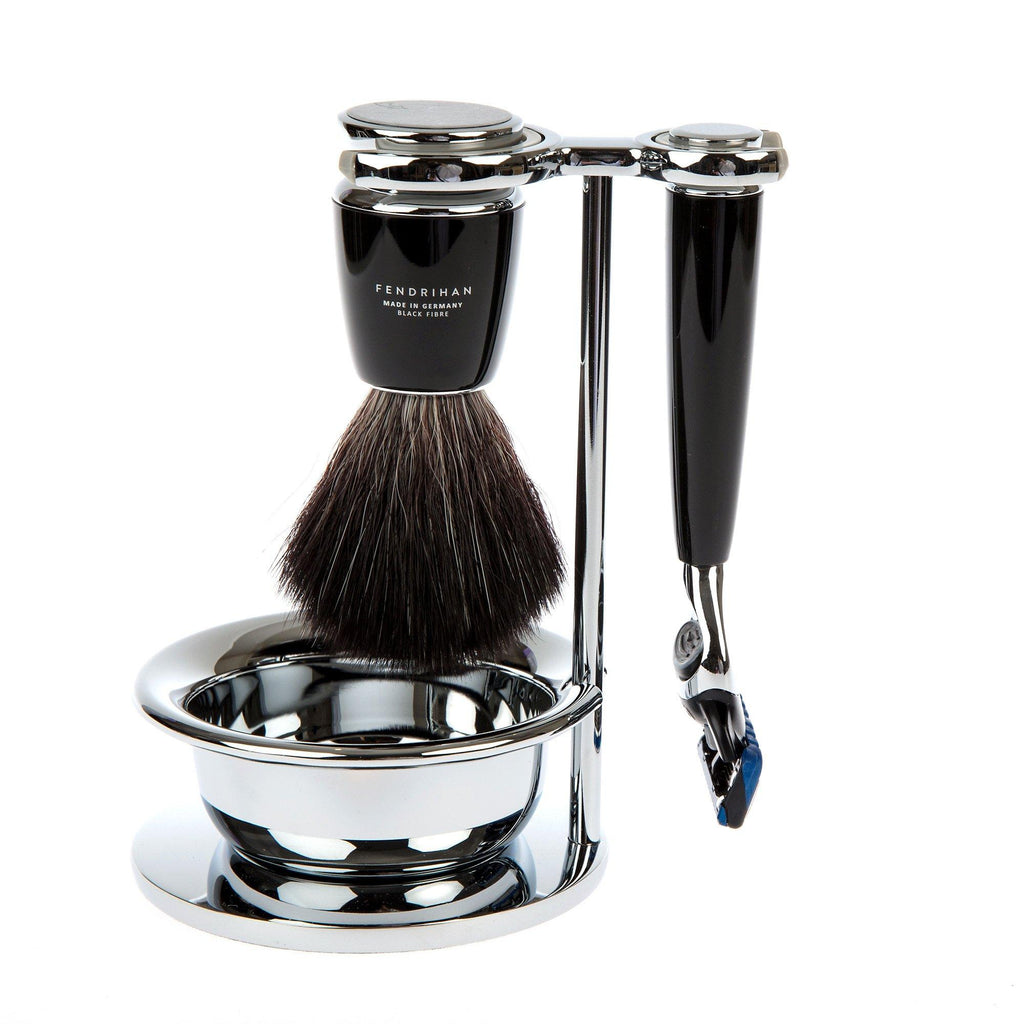 4-Piece Shaving Set with Gillette Fusion and Black Fibre Brush