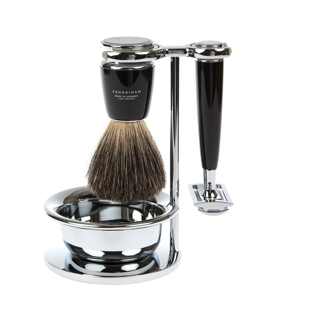 4-Piece Shaving Set with Safety Razor and Pure Badger Brush