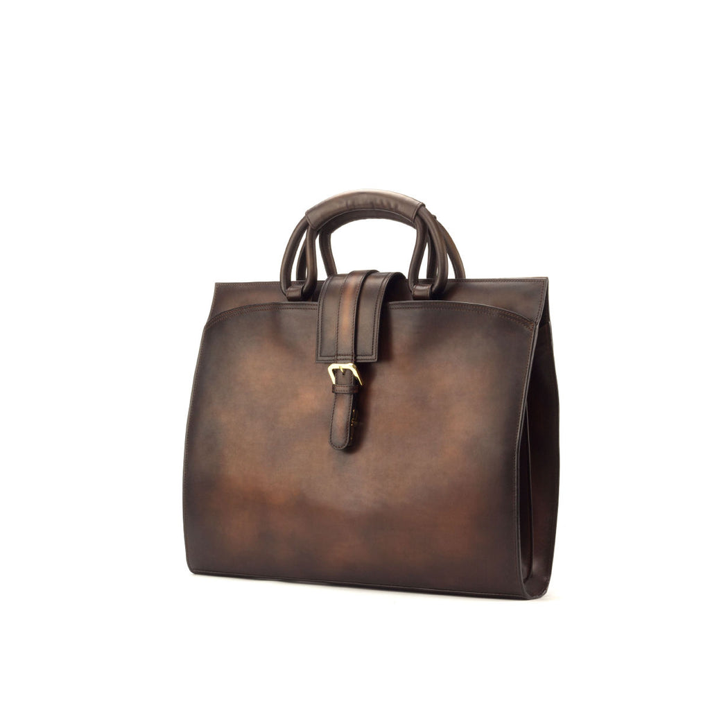 Luxury Congac Hand Painted Patina Calf Skin Briefcase