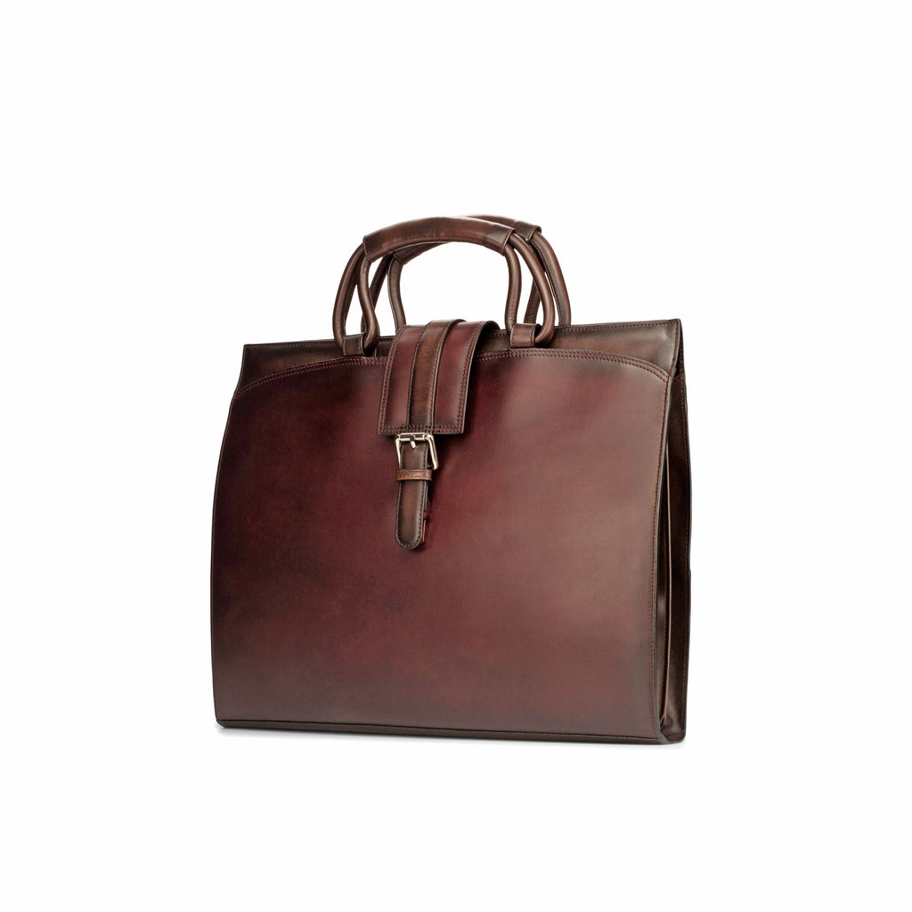 Luxury Burgundy Painted Calf Skin Briefcase