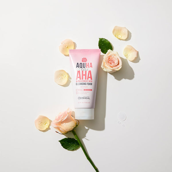 AQUHA Rose AHA Cleansing Foam - Mediheal US
