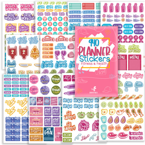 Savvy Bee Fitness Planner Stickers - Value Pack of 940 Workout Stickers for Planners and Journals | 22 Sheets per Pack!