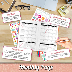 Savvy Bee Undated Planner – Monthly, Weekly, & Daily Planner to Achieve Goals, Set Plans, Increase Productivity & Self Mastery – Hardcover Journal with Free E-Books and 5 Sheets of Stickers