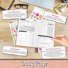 Load image into Gallery viewer, Savvy Bee Undated Planner – Monthly, Weekly, & Daily Planner to Achieve Goals, Set Plans, Increase Productivity & Self Mastery – Hardcover Journal with Free E-Books and 5 Sheets of Stickers