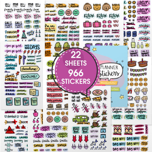 Planner Stickers - Value Pack of Productivity Stickers for Daily Planner.