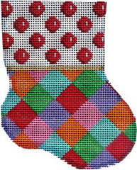 Associated Talents  #CT-1908  Red Coin Dot/Harlequin Mini Sock