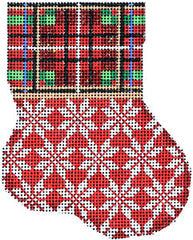 Associated Talents  #CT-1914  Plaid Cuff/Snowflake Mini Stocking
