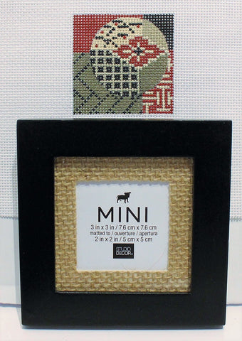 Mindy # D3 Abstract Mini Design with Burlap Matted Frame