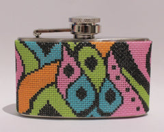 Voila # FL706 Colorful Paisley Mini 3 oz. Flask