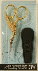 "Notions Marketing - 3 1/2"" Gold-handled Stork Embroidery Scissors"