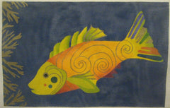 Nan Hempel Orange Fish on Blue Background